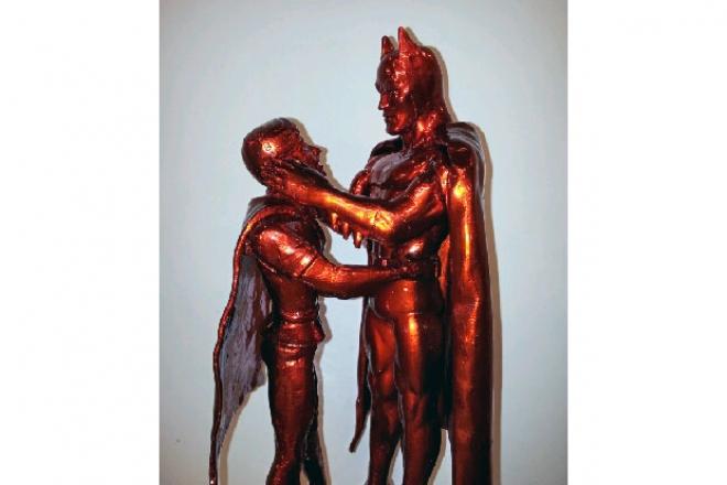 Caratteristiche tecniche: fusione in bronzo, bagno galvanico cromo rosso finitura in vernice protettiva lucida Dimensione: h50x20x20 pezzo unico